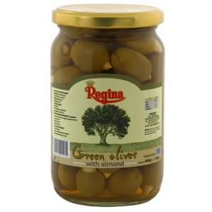 Оливки зеленые Regina фаршированные миндалем — 400 гр