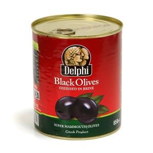 Греческие черные маслины супер маммут с косточкой — 820 гр