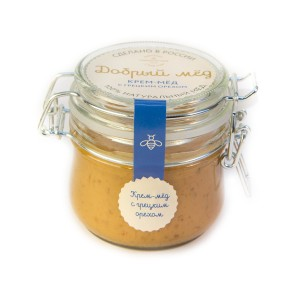 Крем-мед с грецким орехом 250 гр, стеклянная банка